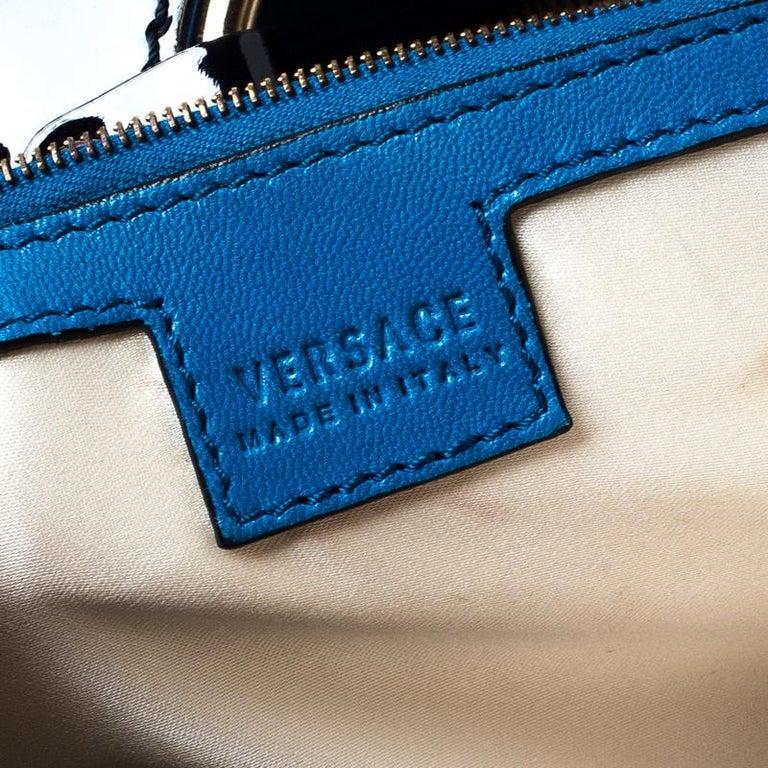 Versace Multicolor Suede and Patent Leather Lazer Cut Satchel In Good Condition For Sale In Dubai, Al Qouz 2