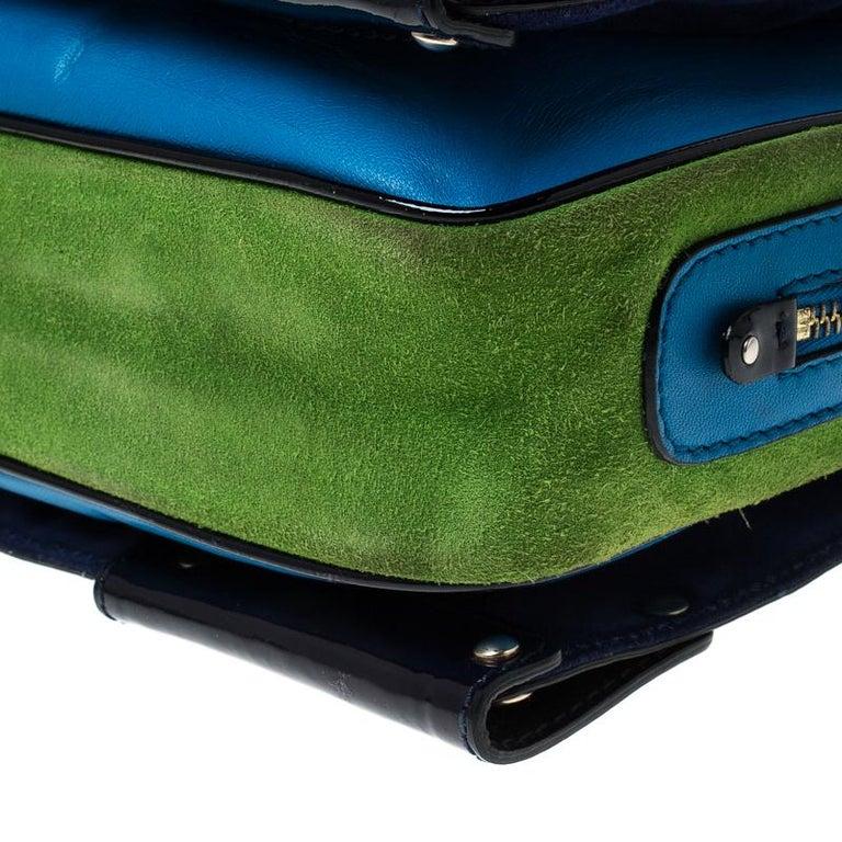Women's Versace Multicolor Suede and Patent Leather Lazer Cut Satchel For Sale