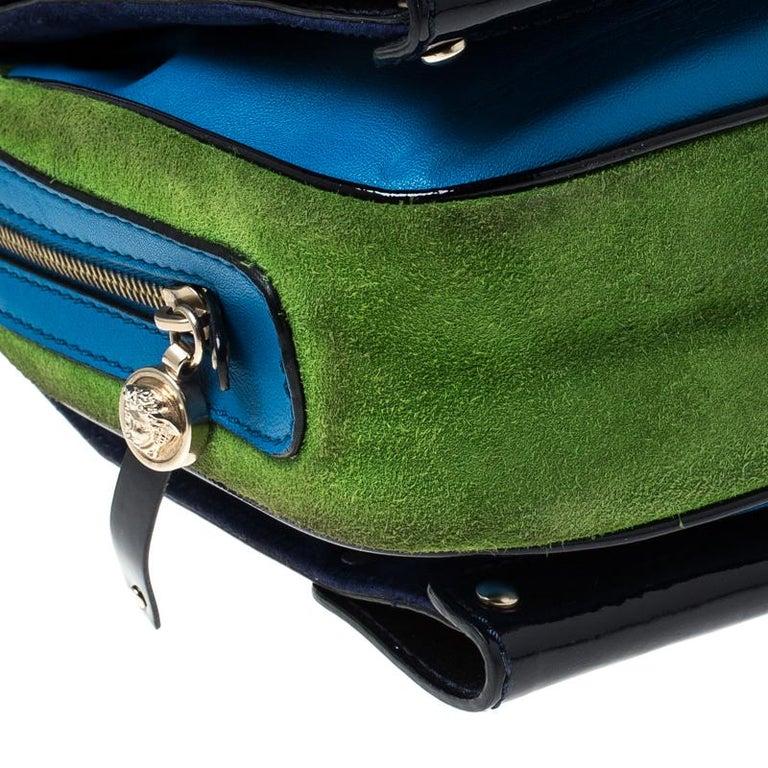 Versace Multicolor Suede and Patent Leather Lazer Cut Satchel For Sale 1