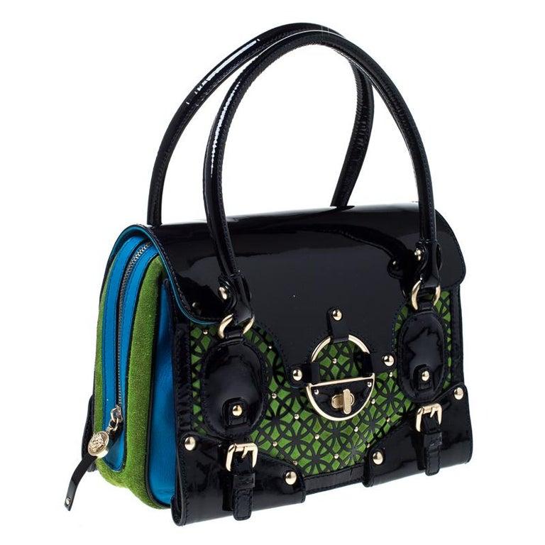 Versace Multicolor Suede and Patent Leather Lazer Cut Satchel For Sale 3