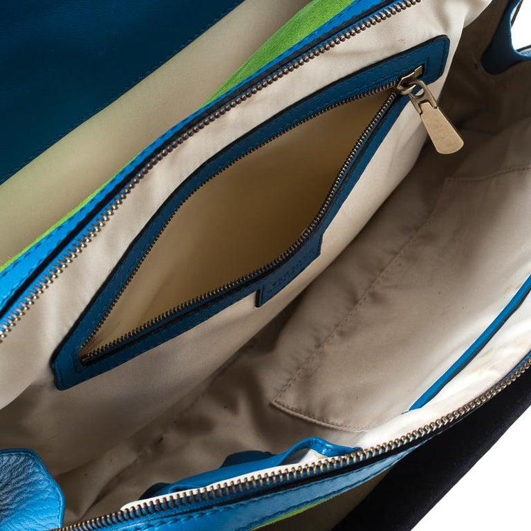 Versace Multicolor Suede and Patent Leather Lazer Cut Satchel For Sale 4