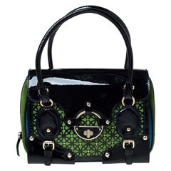 Versace Multicolor Suede and Patent Leather Lazer Cut Satchel