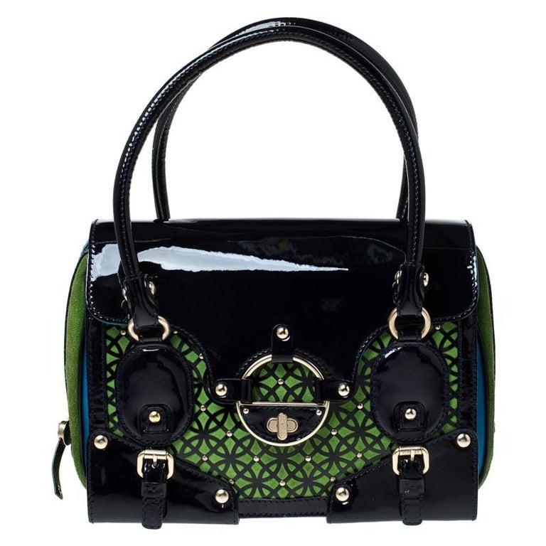 Versace Multicolor Suede and Patent Leather Lazer Cut Satchel For Sale