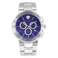 Versace Mystique Chrono Steel Blue Dial Quartz Men's Luminescent Watch VFG120015