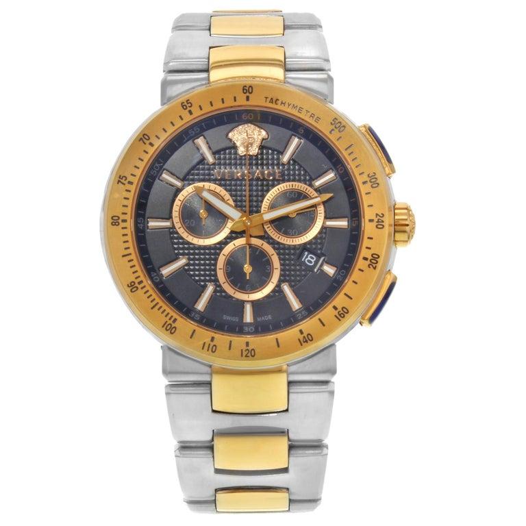Versace Mystique Steel Chronograph Black Dial Quartz Men's Watch VFG100014 For Sale