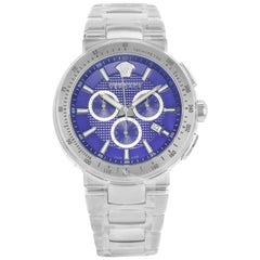 Versace Mystique Tachymeter Blue Dial Steel Quartz Men's Watch VFG120015