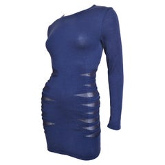 Versace Navy Blue Bodycon Dress with Side Mesh Cut Outs