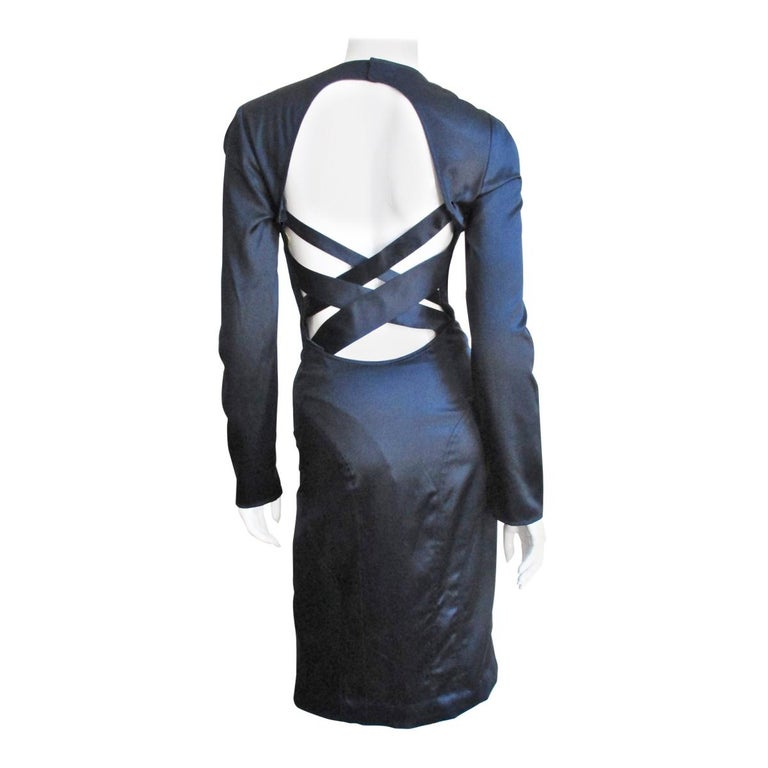 Versace Navy Silk Dress with Cut Out Back 1990s For Sale