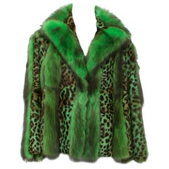 Versace Neon Green Leopard Print Goat Fur Inarsia Jacket