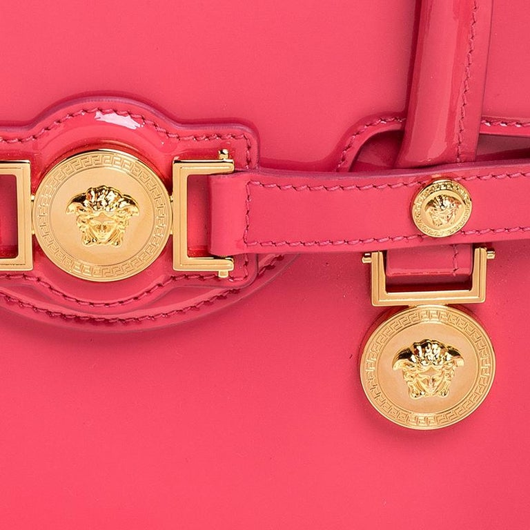 Versace Neon Pink Patent Leather Medusa Medallion Tote For Sale 6