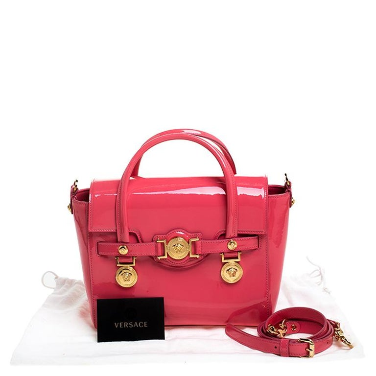 Versace Neon Pink Patent Leather Medusa Medallion Tote For Sale 7
