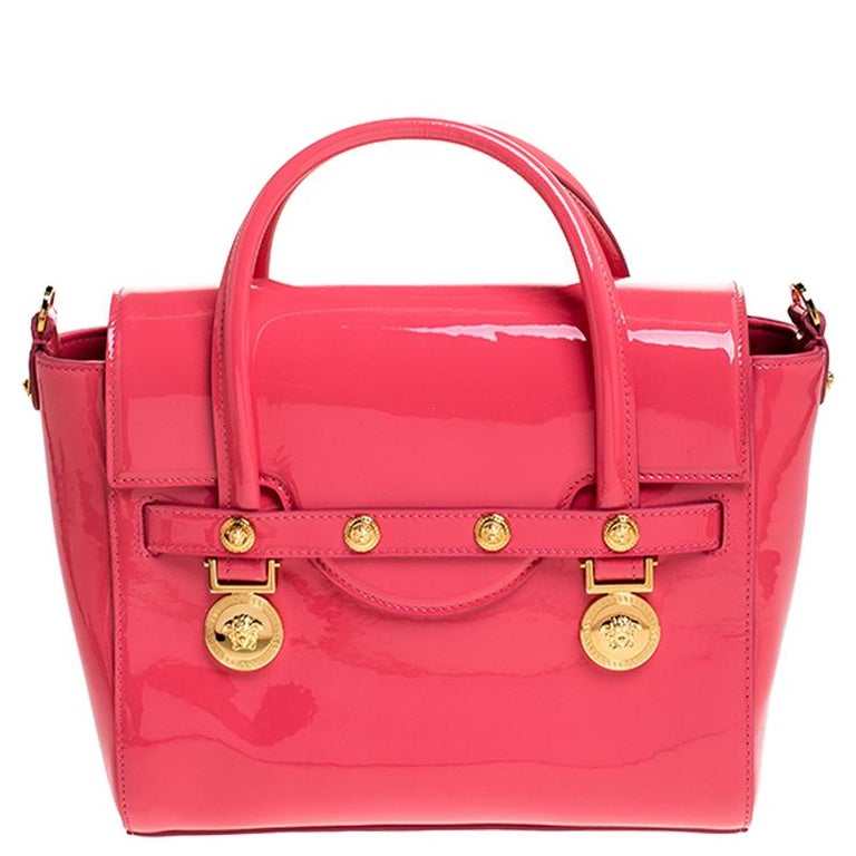 Versace Neon Pink Patent Leather Medusa Medallion Tote For Sale 5