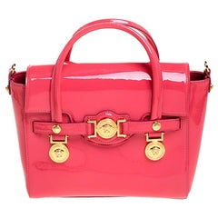 Versace Neon Pink Patent Leather Medusa Medallion Tote