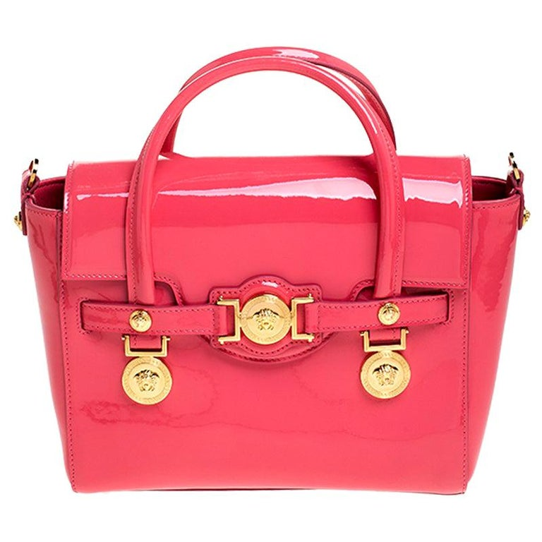 Versace Neon Pink Patent Leather Medusa Medallion Tote For Sale