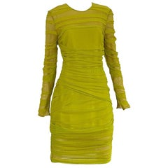 Versace Neon Yellow Draped Cocktail Dress