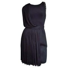 Versace Neoprene Silk Draped Dress with Leather and Stud Trim
