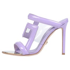Versace NEW Purple Patent PVC Clear Slides Mules Evening Sandals Heels in Box