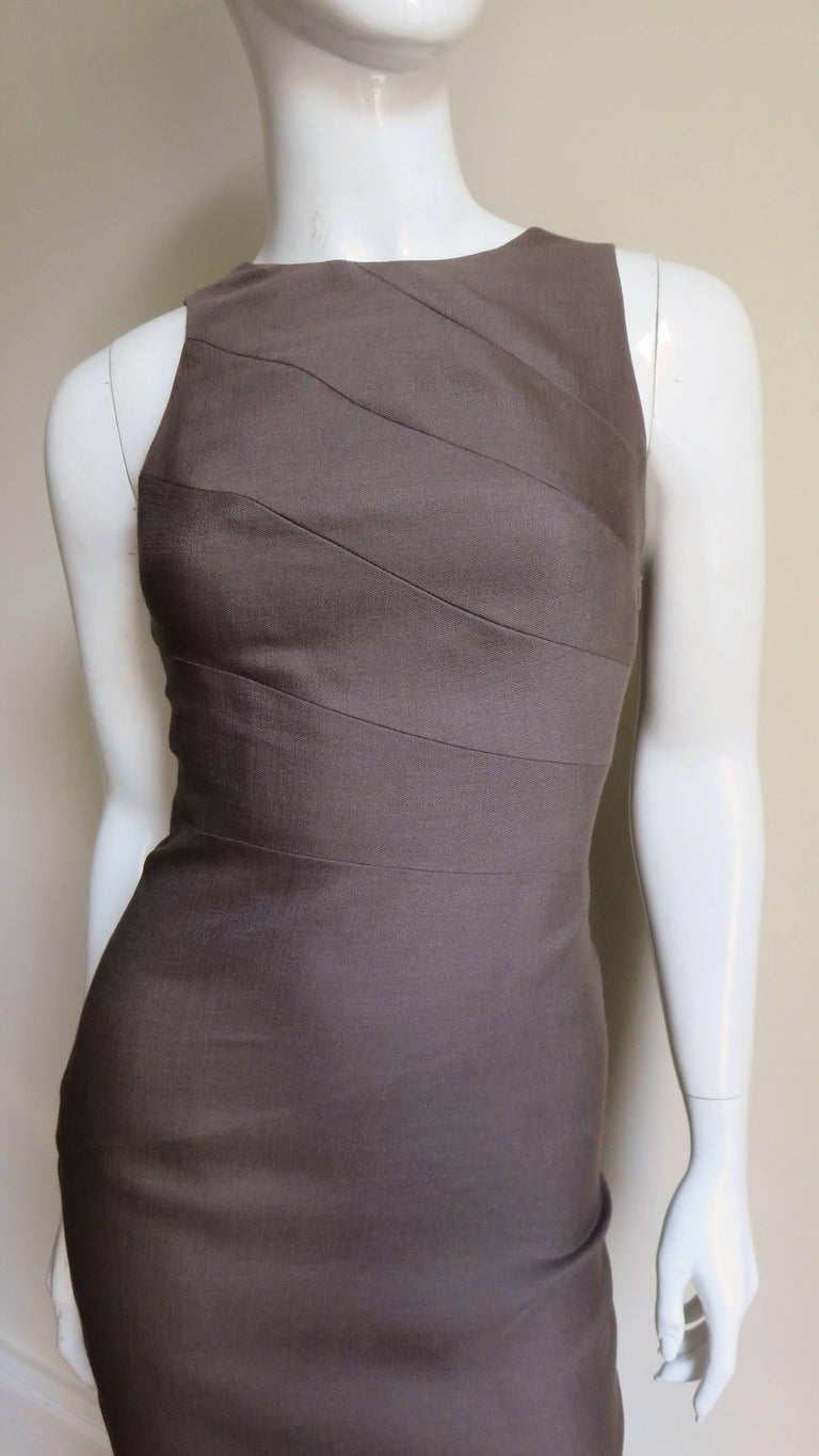 Gray Versace New Bodycon Spiral Seamed Dress For Sale
