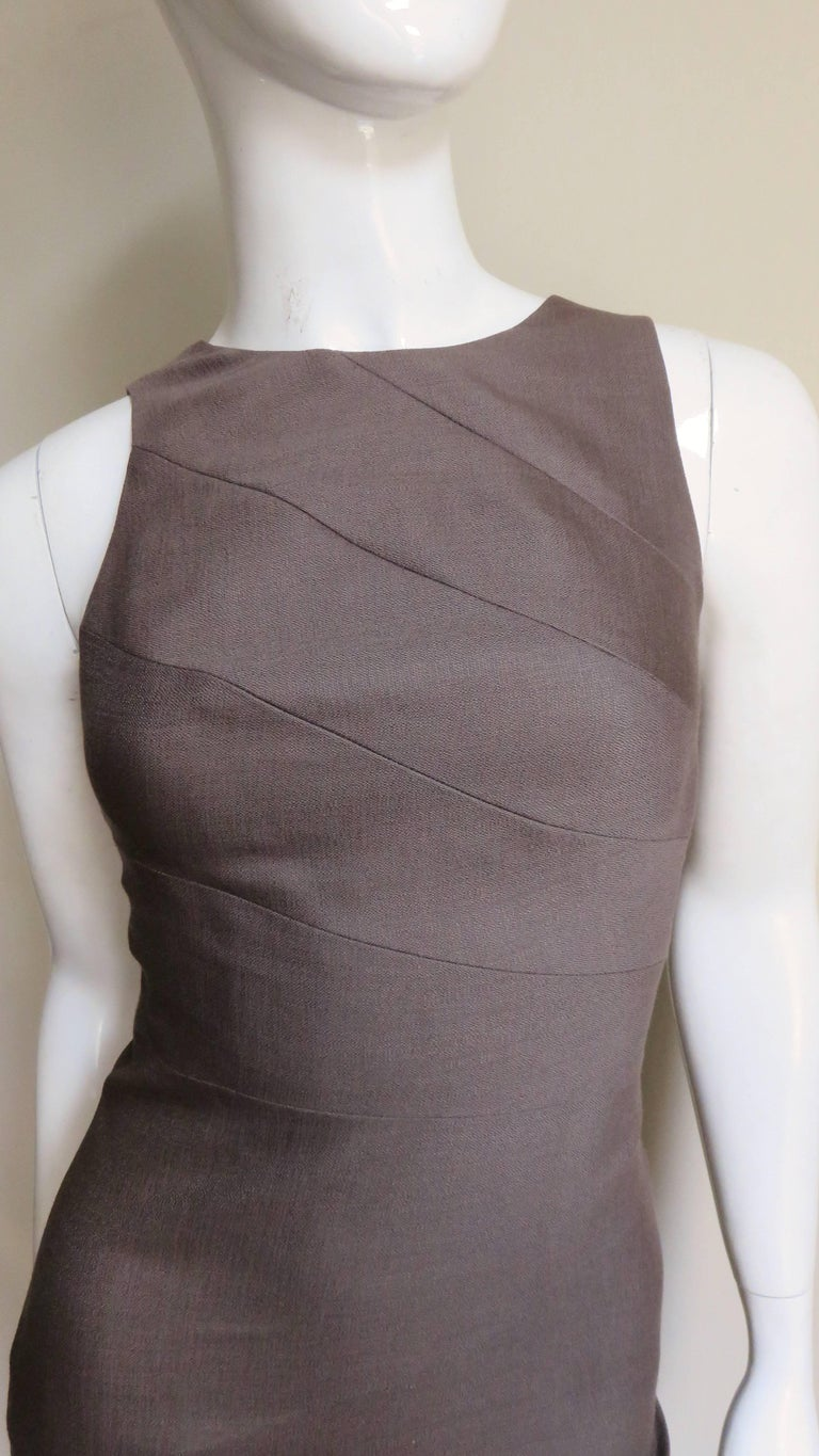 Versace New Bodycon Spiral Seamed Dress In Excellent Condition For Sale In New York, NY