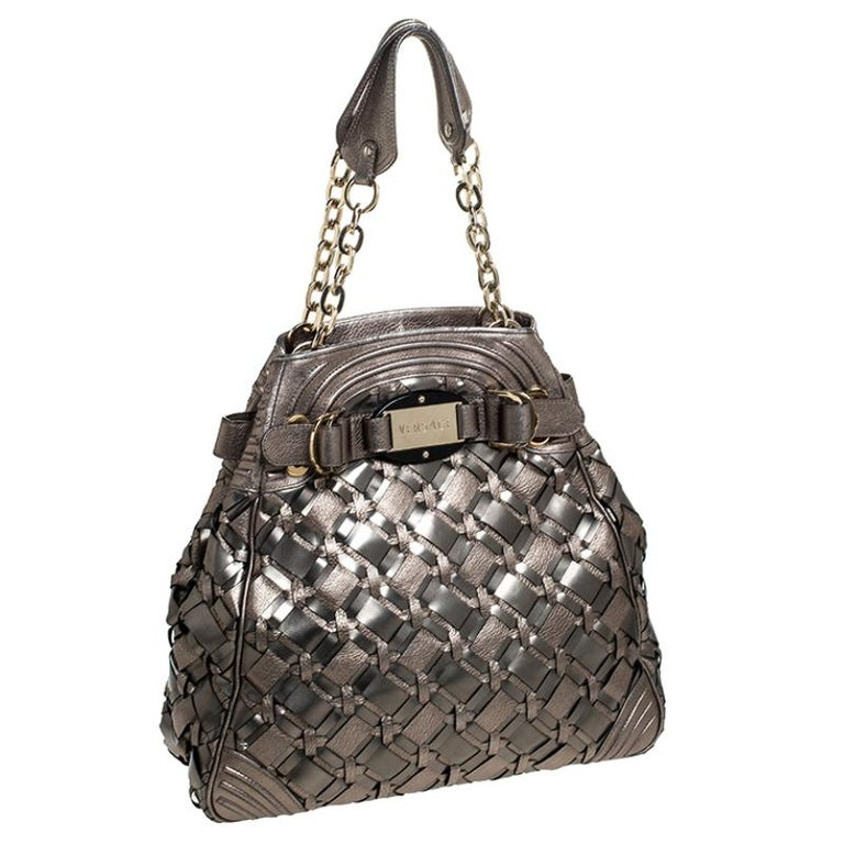 Women's Versace Nickel Olive Woven PVC and Leather Chain Shoulder Bag For Sale