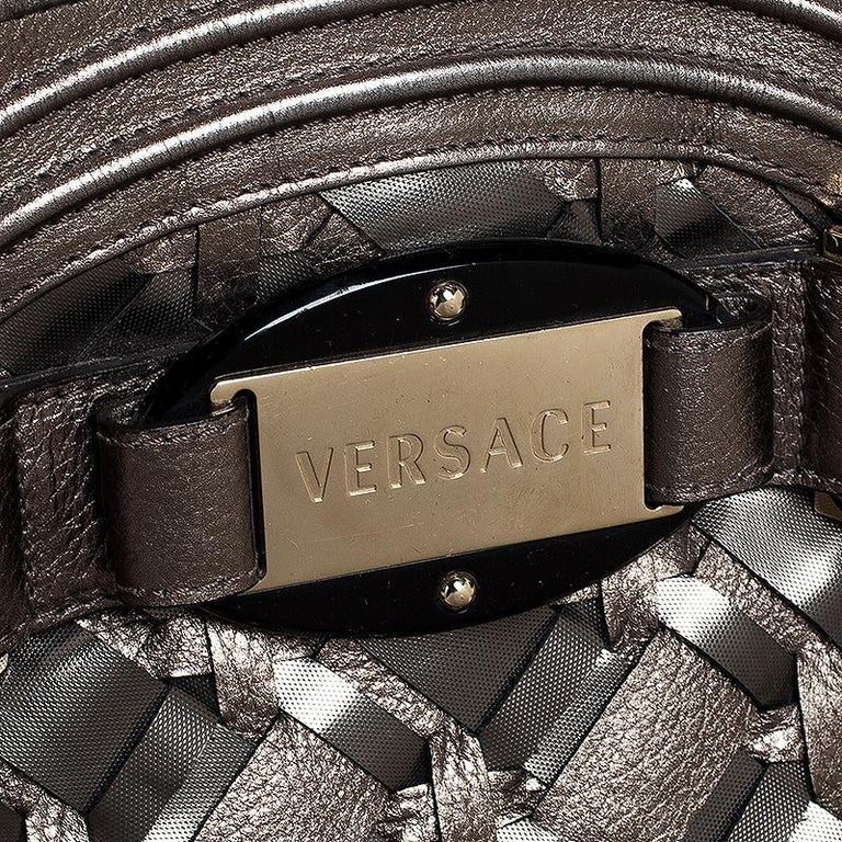Versace Nickel Olive Woven PVC and Leather Chain Shoulder Bag For Sale 5