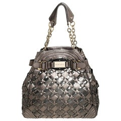 Versace Nickel Olive Woven PVC and Leather Chain Shoulder Bag