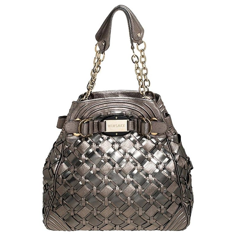 Versace Nickel Olive Woven PVC and Leather Chain Shoulder Bag For Sale