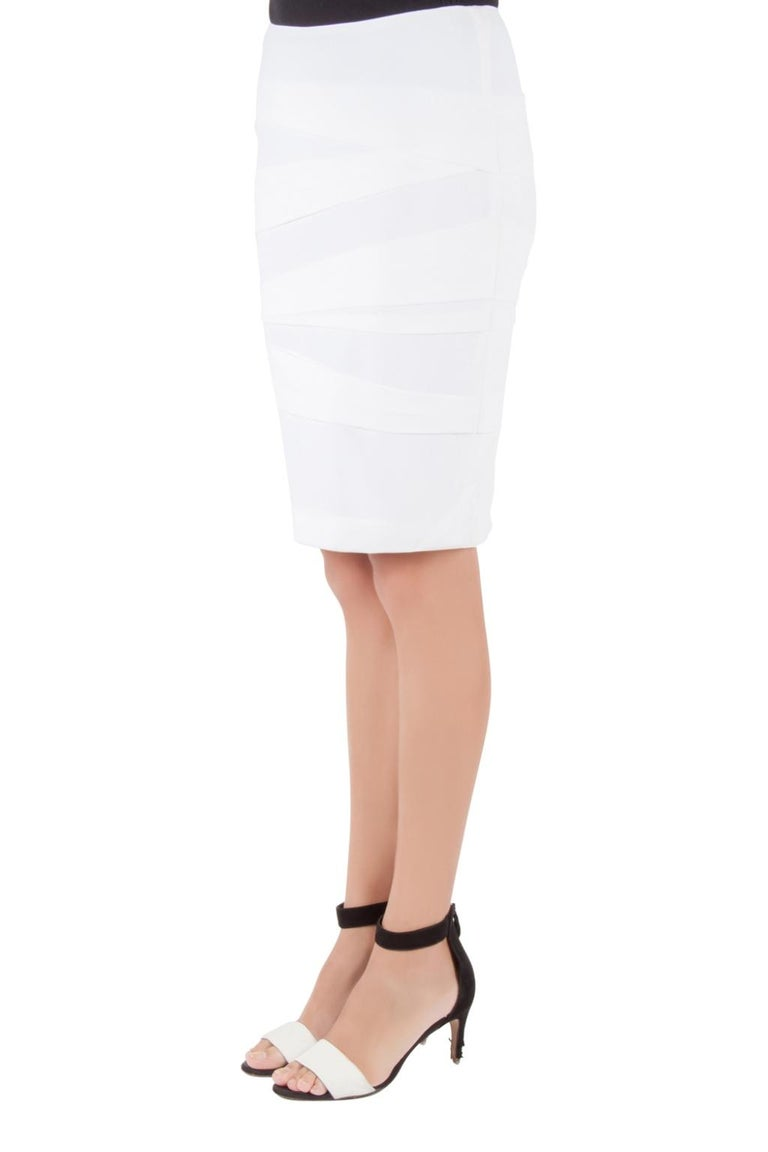 Versace Off White Crepe Stretch Asymmetric Panel Tiered Pencil Skirt M In Excellent Condition For Sale In Dubai, Al Qouz 2