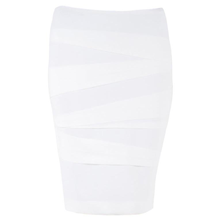 Versace Off White Crepe Stretch Asymmetric Panel Tiered Pencil Skirt M For Sale