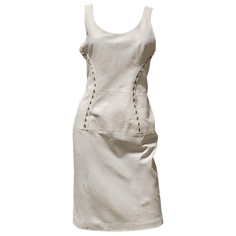 VERSACE OFF WHITE METAL HARDWARE EMBELLISHED LEATHER Dress 44 - 10 For Sale