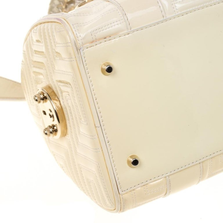 Versace Off White Quilted patent Leather Small Snap Out Of It Satchel For Sale 6