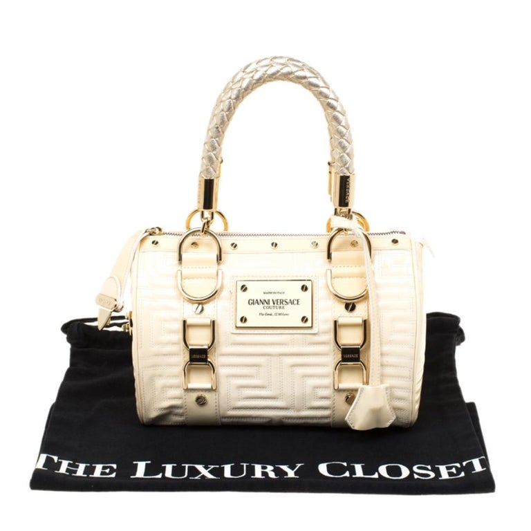 Versace Off White Quilted patent Leather Small Snap Out Of It Satchel For Sale 7