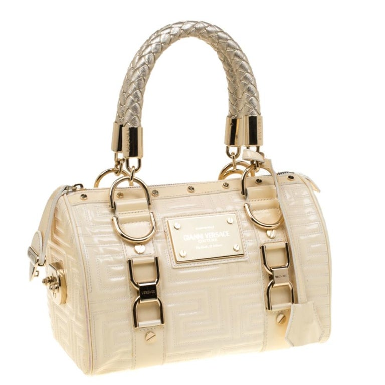 Women's Versace Off White Quilted patent Leather Small Snap Out Of It Satchel For Sale