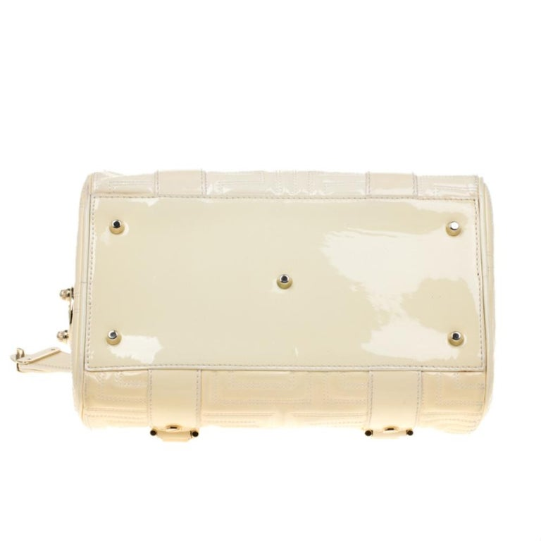 Versace Off White Quilted patent Leather Small Snap Out Of It Satchel For Sale 1
