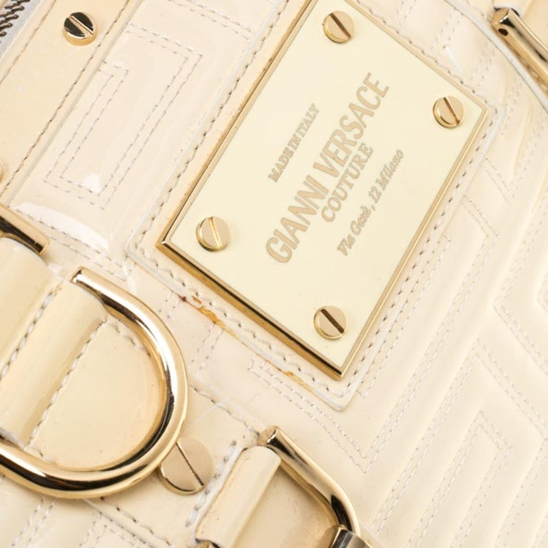 Versace Off White Quilted patent Leather Small Snap Out Of It Satchel For Sale 4