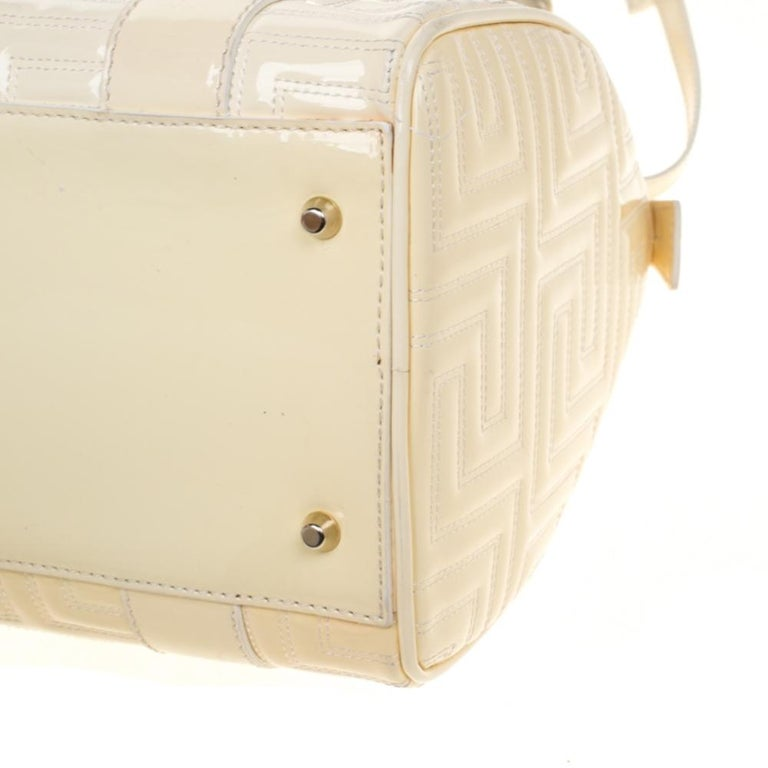 Versace Off White Quilted patent Leather Small Snap Out Of It Satchel For Sale 5