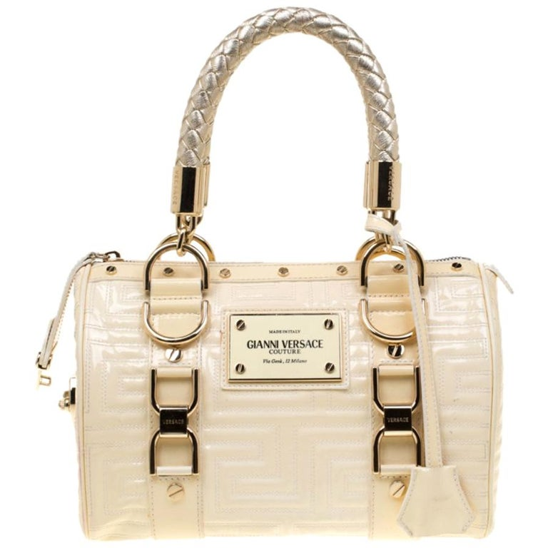 Versace Off White Quilted patent Leather Small Snap Out Of It Satchel For Sale