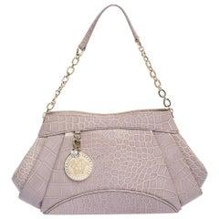Versace Old Rose Croc Embossed Leather Shoulder Bag