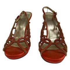 Versace orange crystal sandal