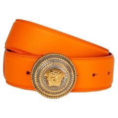 VERSACE orange leather & gold MEDUSA BUCKLE Belt 75