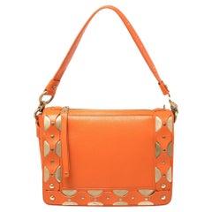 Versace Orange Leather Studded Flap Shoulder Bag
