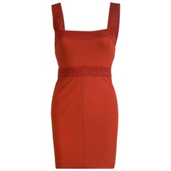 Versace Orange Sleeveless V-Neck Bodycon Dress S