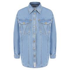 Versace Oversized Light Blue Denim Long Sleeve Button Down Shirt Size 38