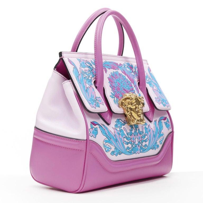 Gray VERSACE Palazzo Empire Small Technicolor Baroque pink Medusa tote bag