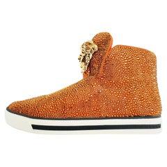 Versace Palazzo High -Top Crystal Embellished Sneakers in Orange