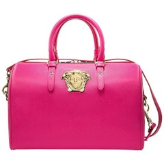 VERSACE PALAZZO LEATHER TOTE BAG in ORCHID PINK