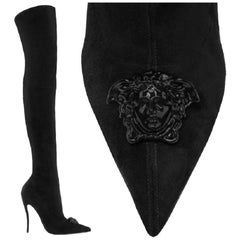 Versace Palazzo Thigh High Black Suede Stiletto Boots 36 - 6