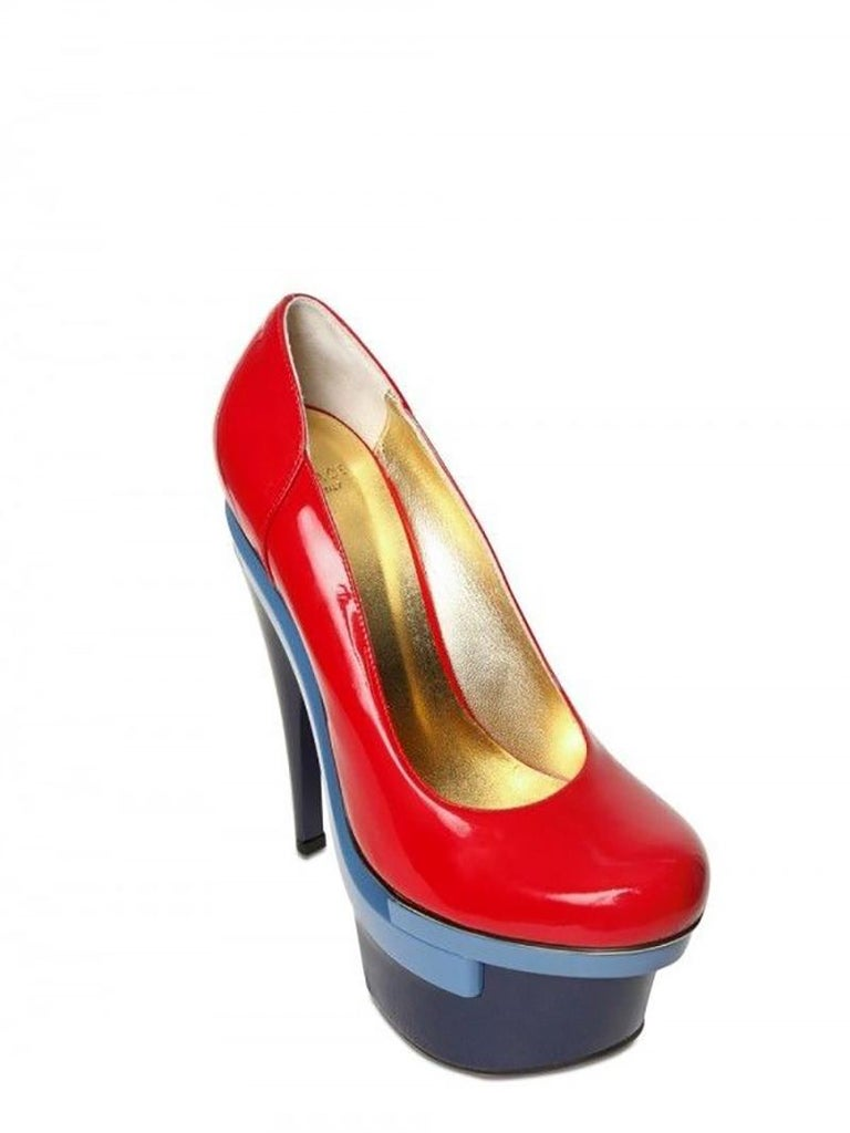 3eed027a8c9 New Versace Red Patent Leather Triple Platform Pumps In New Condition For  Sale In Montgomery