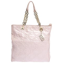 Versace Pearl Pink Leather Chain Shopper Tote