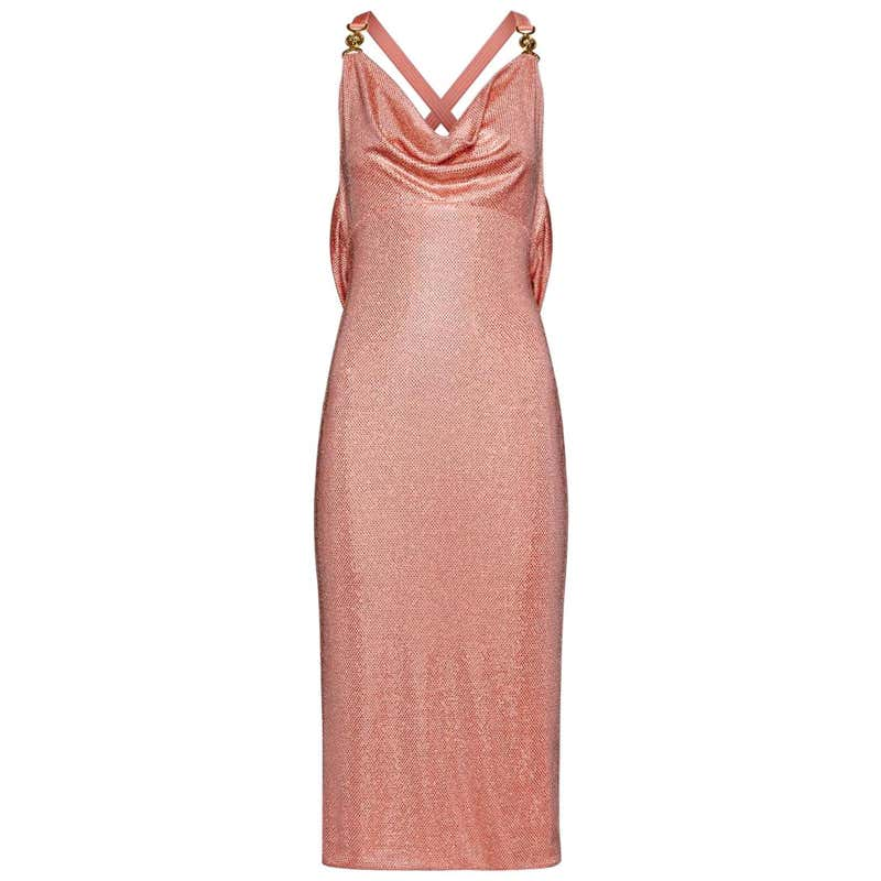 VERSACE PINK DRAPED EMBELLISHED PINK MIDI Dress 38 - 2 by Versace, available on 1stdibs.com for $8282 Kylie Jenner Dress Exact Product